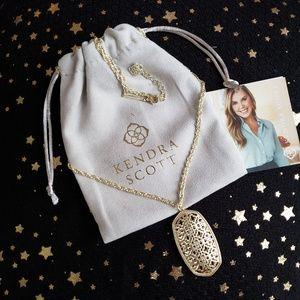 Kendra Scott Rae Filigree Pendant Necklace Gold